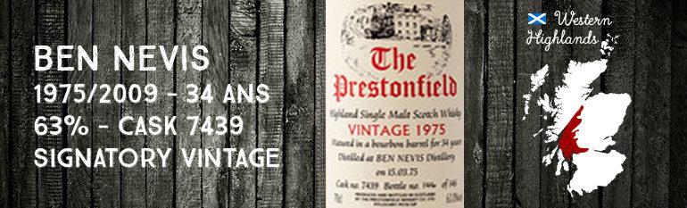 Ben Nevis 1975/2009 – 34yo – 63 % – Cask 7439 – Signatory Vintage The Prestonfield