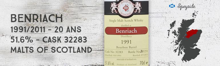 Benriach 1991/2011 – 20yo – 51,6 % – Cask32283 – MaltsofScotland