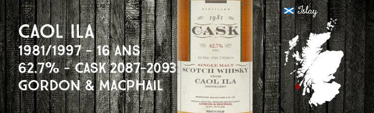 Caol Ila 1981/1997 – 16yo – 62,7 % – cask2087-2093 – Gordon&Macphail