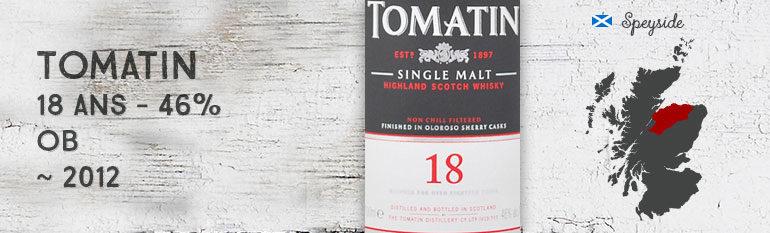 Tomatin 18yo – 46 % – OB – +/- 2012