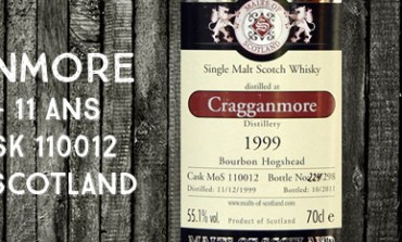 Cragganmore 1999/2010 - 11yo - 55,1 % - Cask 110012 -  Malts of Scotland
