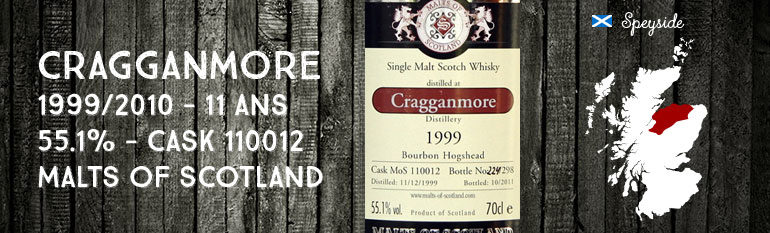 Cragganmore 1999/2010 – 11yo – 55,1 % – Cask 110012 –  Malts of Scotland