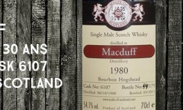 MacDuff - 1980/2011 - 30yo - 54,1 % - Cask 6107 - Malts of Scotland Bourbon hogshead