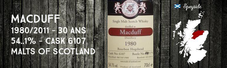 MacDuff – 1980/2011 – 30yo – 54,1 % – Cask6107 – Malts of Scotland Bourbonhogshead