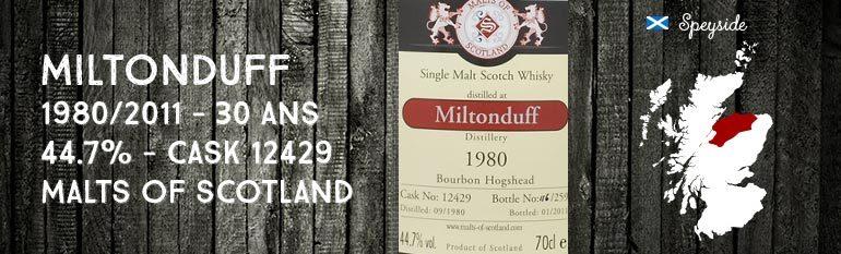 Miltonduff 1980/2011 – 30yo – 44,7% – Cask12429 – Malts of Scotland
