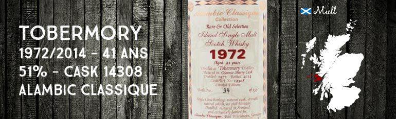 Tobermory 1972/2014 – 41yo – 51% – Cask14308 – Alambic Classique