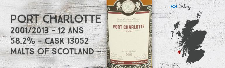 Port Charlotte 2001/2013 – 12yo – 58,2 % – cask13052 – Malts of Scotland