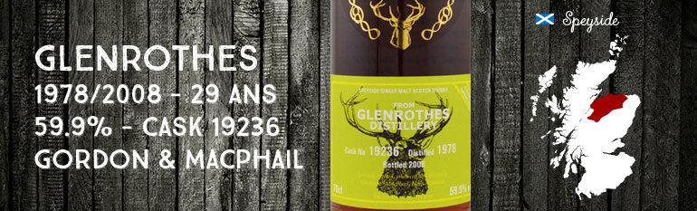 Glenrothes 1978/2008 – 29yo – 59,9 % – Cask 19236 – Gordon & Macphail Reserve