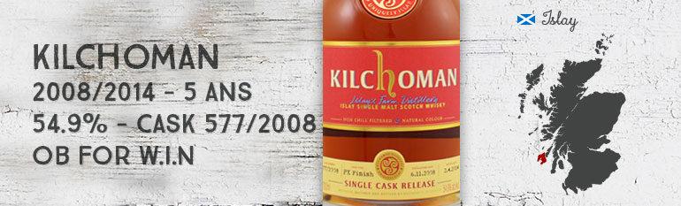 Kilchoman – 2008/2014 – 5yo – 54,9% – Cask 577/2008 – PX Finish – Embouteillé pour WIN 10th release