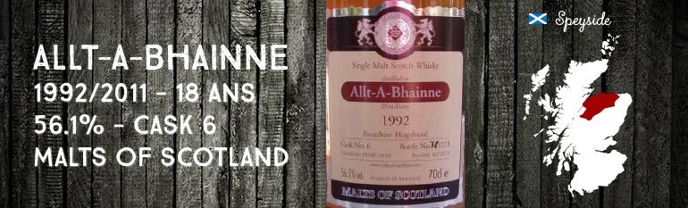 Allt-A-Bhainne – 1992/2011 -18yo – 56,1% – Cask 6 – Malts of Scotland
