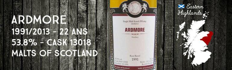 Ardmore – 1991/2013 – 22yo – 53,8% – Cask 13018 – Malts of Scotland Rum Barrel