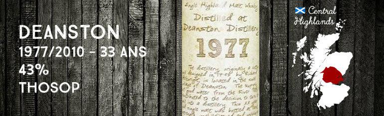 Deanston – 1977/2010 – 33yo – 43% – Thosop Handwritten Label