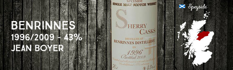 Benrinnes – 1996/2009 – 43% – Jean Boyer Best Casks of Scotland