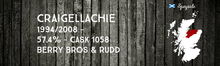 Craigellachie 1994/2008 – 57,4 % – Cask 1058 – Berry Bros & Rudd