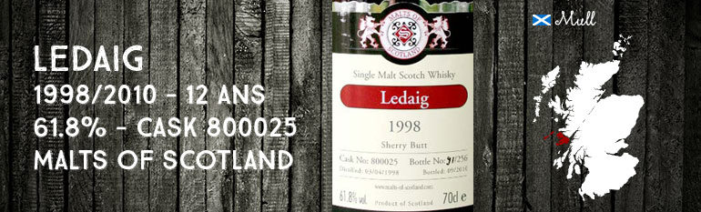 Ledaig – 1998/2010 – 12yo – 61,8% – Cask 800025 – Malts of Scotland