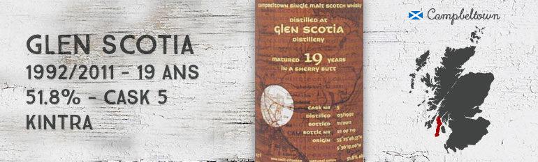 Glen Scotia – 1992/2011 – 19yo – 51,8% – Cask  5 – Kintra Whisky Sherry Butt