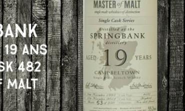 Springbank - 1993/2012 - 19yo - 55,2% - cask 482 - Master of Malt