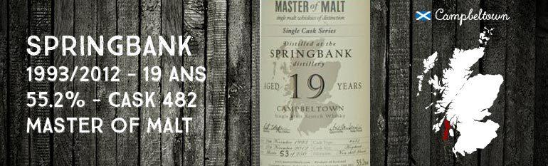 Springbank – 1993/2012 – 19yo – 55,2% – cask 482 – Master of Malt