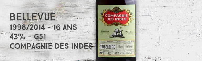Bellevue – 1998/2014 – 16yo – 43% – G51 – Compagnie des Indes – Guadeloupe