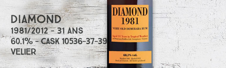 Diamond – 1981/2012 – 31yo – 60,1% – Casks 10536-37-39 – Velier – Guyana