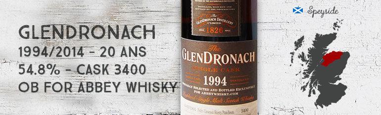 Glendronach – 1994/2014 – 20yo – 54,8% – Cask 3400 – OB for Abbey Whisky
