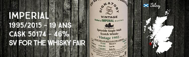 Imperial – 1995/2015 – 19 yo – cask 50174 – 46% – Signatory Vintage for The Whisky Fair