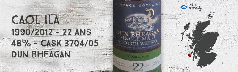 Caol Ila – 1990/2012 – 22 yo – 48% – casks 3704/3705 – Dun Bheagan