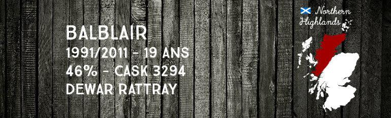 Balblair – 1991/2011 – 19yo – 46% – Cask 3294 –  A.D Rattray