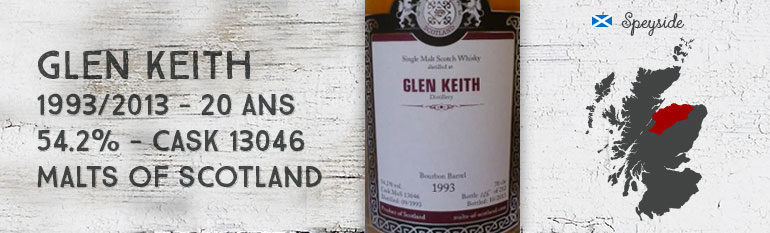 Glen Keith – 1993/2013 – 20yo – 54,2% – Cask 13046 – Malts Of Scotland