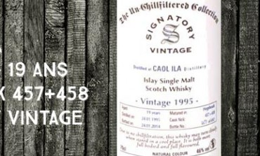 Caol Ila - 1995/2014 - 19yo - 46% - Cask 457+458 -  Signatory Vintage The Un-Chillfiltered Collection