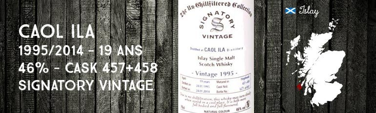 Caol Ila – 1995/2014 – 19yo – 46% – Cask 457+458 –  Signatory Vintage The Un-Chillfiltered Collection
