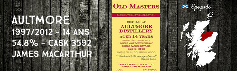 Aultmore – 1997/2012 – 14yo – 54,8% – Cask  3592 –  James MacArthur Old Masters