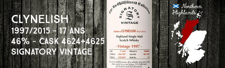 Clynelish – 1997/2015 – 17yo – 46% – Cask 4624+4625 – Signatory Vintage The Un-Chillfiltered Collection