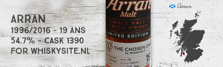 Arran – 1996/2016 – 19yo – 54,7% – Cask 1390 – OB for Whiskysite.nl