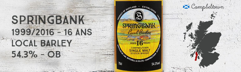 Springbank – 1999/2016 – 16yo – Local barley – 54,3% – OB