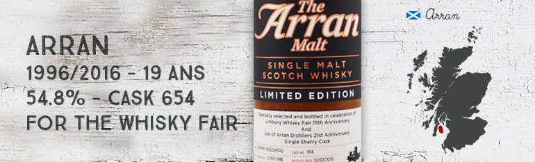 Arran – 1996/2016 – 19yo – Cask 654 – 54,8% – OB for The Whisky Fair