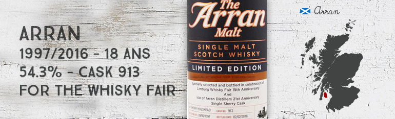 Arran – 1997/2016 – 18yo – Cask 913 – 54,3% – OB for The Whisky Fair