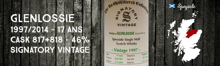 Glenlossie – 1997/2014  – 17yo – Cask 817 + 818 – 46% – Signatory Vintage – The Un-Chillfiltered Collection