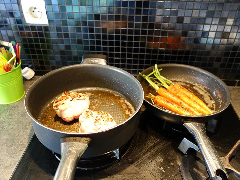 Carottes et paupiettes en fin de cuisson
