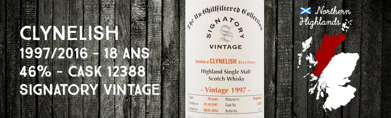 Clynelish – 1997/2016  – 18yo – Cask 12388 – 46% – Signatory Vintage – The Un-Chillfiltered Collection