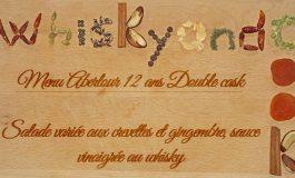 Whiskyandcook- Menu Aberlour 12yo Double cask (1/3) - Entrée : Salade variée aux crevettes et gingembre, sauce vinaigrée au whisky