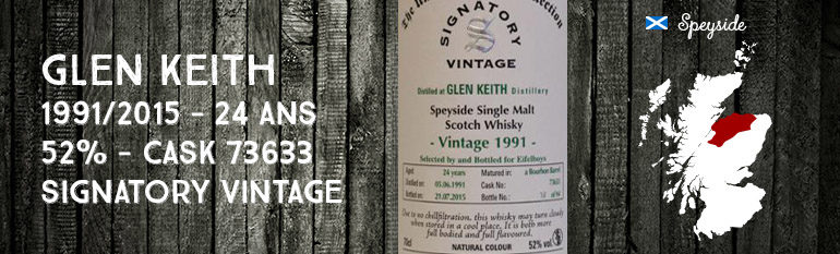Glen Keith – 1991/2015 – 24yo – 52% – Cask 73633 – Signatory Vintage – The Un-Chillfiltered Collection – for Eifelboys