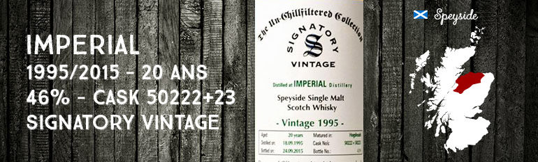 Imperial – 1995/2015 – 20yo – 46% – Cask 50222+23 – Signatory Vintage – The Un-chillfiltered Collection