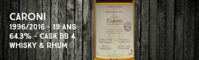 Caroni – 1996/2016 – 19yo – 64,3% – Cask BB4 – Whisky & Rhum – L'esprit – Trinidad & Tobago
