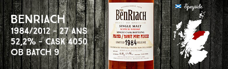 Benriach – 1984/2012 – 27yo – 52,2% – Cask 4050 – Single Cask Peated – Tawny Port Finish – OB – Batch 9