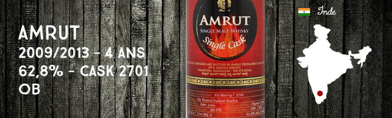 Amrut – 2009/2013 – 4yo – 62,8% – Cask 2701 – OB