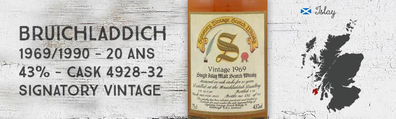 Bruichladdich – 1969/1990 – 20yo – 43% – Cask 4928-32 – Signatory Vintage – Vintage Collection Dumpy