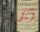 Laphroaig – 15yo – 43% – OB – Unblended Islay Scotch Whisky – Red Writing – Importato da Francesco Cinzano – 1980's