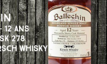 Ballechin - 2004/2016 - 12yo - 55,6% - Cask 278 - OB - for Kirsch Whisky