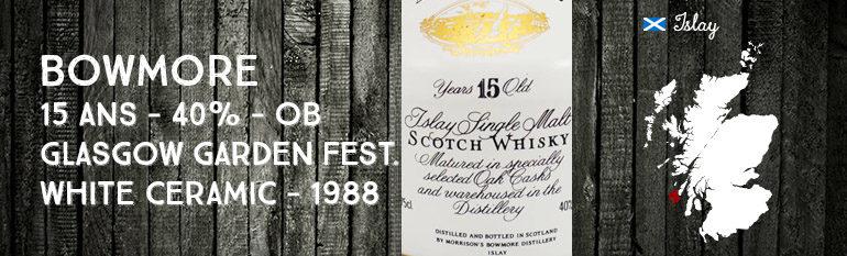 Bowmore – 15yo – 40% – OB – Glasgow Garden Festival – White Ceramic jug – 1988